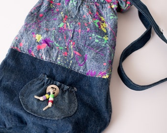 """Vintage Totally Rad 80s Denim Bag with Neon """"Paint Splatters"""", Radical Hipster Style"""