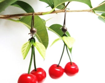 Cherry Earrings - Red and green cherries earrings - Hand made with Love