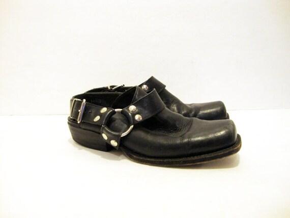 Size 8 Black Leather BIKER Harness Mules Clogs Shoes