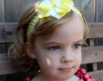 Yellow Lace Headband with Sequined Flower