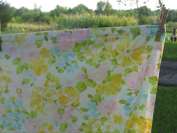Sheet Twin Flat or Top Sheet 72 x 104 Floral Twin Sheet Pink Roses, Yellow and Blue Flowers