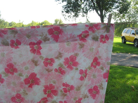 Sheet Bed Sheet Twin flat or top sheet Pink Green and White twin floral sheet