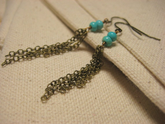 turquoise dangle earrings antiqued brass sleeping beauty turquoise chain tassel wire wrapped lightweight simple boho jewelry