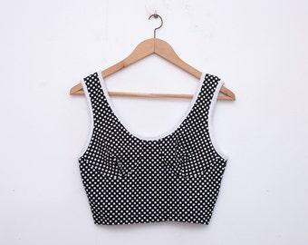 NOS vintage black crop top  polka dot size S/M