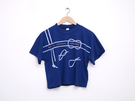 NOS vintage navy blue cropped tee size S nautical