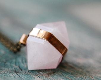 Banded Rose Quartz Necklace - Brass