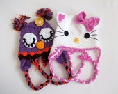 Owl and Kitty Hat -Crochet Baby Hat  - for Baby or Toddler-Baby Girl Hat