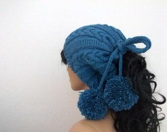 Indigo Knitting Hat or cowl,scarf-Pon pon hat