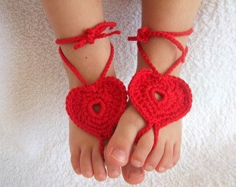 Red Heart Barefoot Baby Sandals-Crochet Baby Barefoot Sandals-Beach Anklet Yoga,Bridal Cuff Gypsy