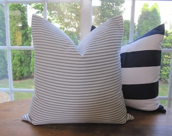 Pillow, Decorative Throw Pillow Cover, Blue Woven Cotton Ticking Stripe Pillow Cover 18 x 18, 20 x 20, 22 x 22, 24 x 24