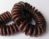 25 Brown Tagua Rondells, RS, 15mm Rondell Beads, EcoBeads, Natural Beads, Organic Beads, Vegetable Ivory Beads
