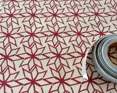 Hand Screen Printed Fabric - Geometric Star in Ruby Red on Hessian
