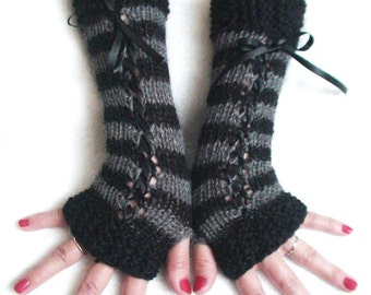 Fingerless Gloves Corset Wrist Warmers Striped in Black and Grey with Satin Ribbons Victorian Style