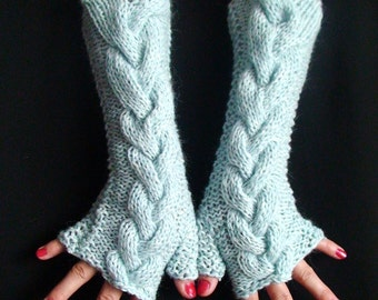 Fingerless Gloves Cabled Arm Warmers in Light Blue Extra Warm