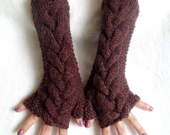 Fingerless Gloves Maroon Melange, Soft Cabled Arm Warmers