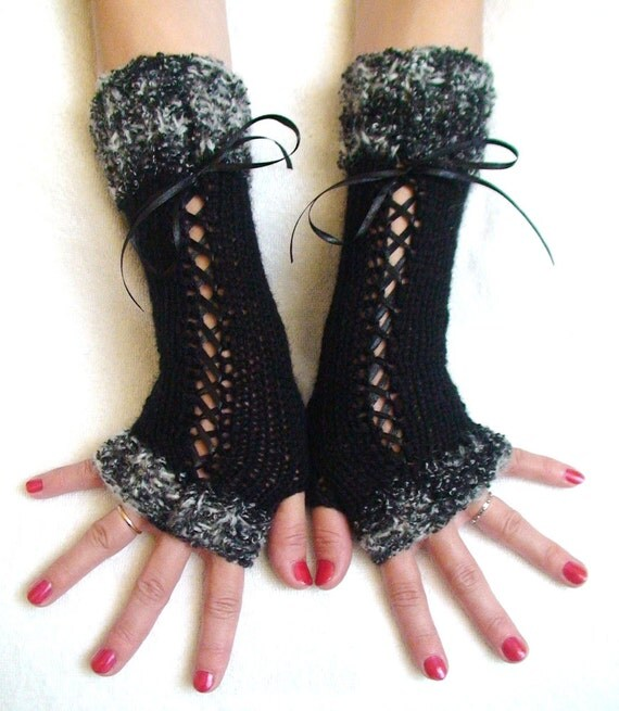 Fingerless Gloves Long Arm Warmers Corset in Black with Satin Ribbons and Black and White Boucle Edges Victorian Style