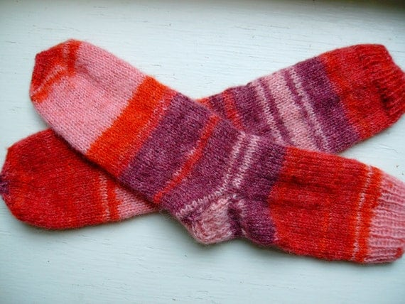 Hand Knit Soft And Warm  Striped Women's Angora Socks, Size 9 - 9.5 (10 inches length) - Red, Pink, Burgundy Stripes