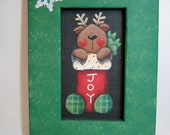 Folk Art Reindeer in Christmas Stocking, JOY Sign, Framed in Red or Green, Tole Painted Reindeer, Reclaimed Wood Frame, Christmas Sign