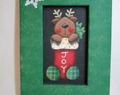 Folk Art Reindeer in Christmas Stocking, JOY Sign, Framed in Red or Green, Tole Painted Reindeer, Reclaimed Wood Frame, Christmas Sign