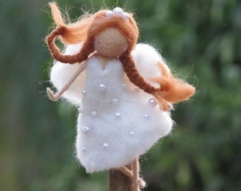 Needle felted Christmas tree topper Waldorf inspired Fairy Home decor