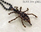 Wire Cockroach Necklace - Wire Wrapped Jewelry - Bug Jewelry - Geek Jewelry - Cockroach Jewelry - Gothic Jewelry - Halloween Jewelry
