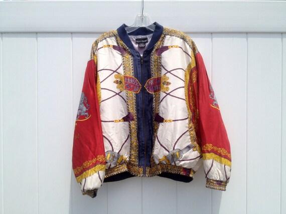 Vintage 90's Scarf-Print Silk Zip-Down Track Jacket Hermes Style by Silk Club Men's Medium /Large