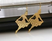 Gold Plated Filigree Ballerina Earrings, Gold-Plated Filigree on Hypo-Allergenic, Nickel-Free French Hook Earwires