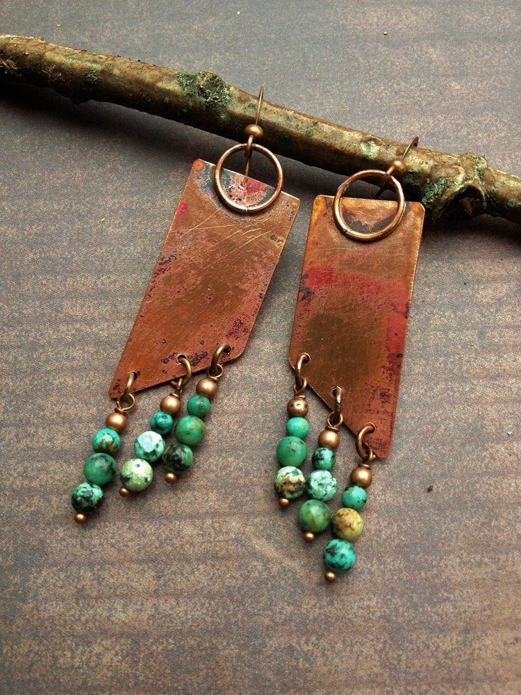 copper earrings turquoise earrings copper jewelry