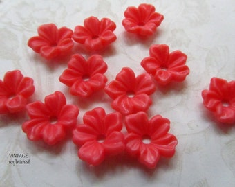 Vintage Lucite Coral Red Stackable 14mm Flowers (12)