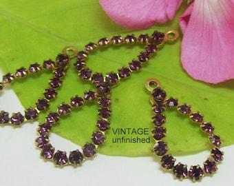 Vintage Swarovski Pear Shaped Amethyst Purple Rhinestone Pendant 25mm (2)