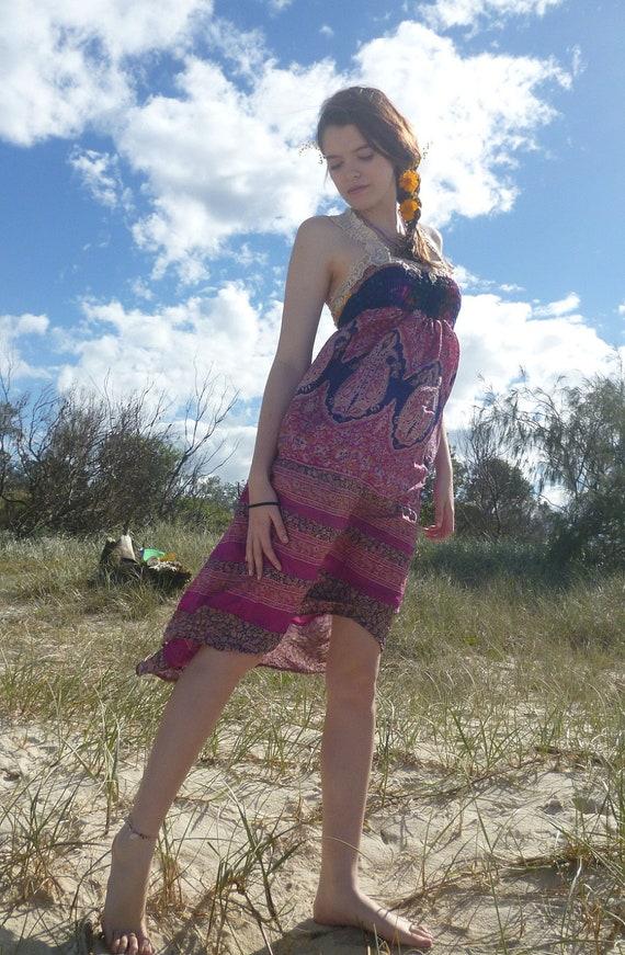 pink paisley mama, lush hippy dress, unique maternity wear, small, medium