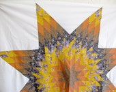 Orange, Brown, Yellow and Blue Star patchwork, 50x50 Inches.....Ready to ship