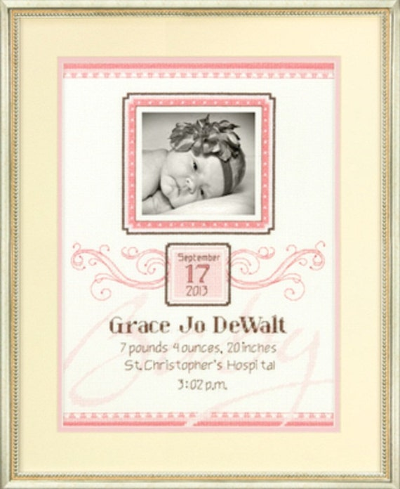 Picture Flourish Cross Stitch Baby Announcement