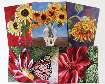 Giclee art Flower Postcards (set of 5)