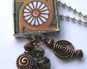 Glass Art Pendant - Daisy Swirl - Beaded Soldered Glass Pendant Necklace