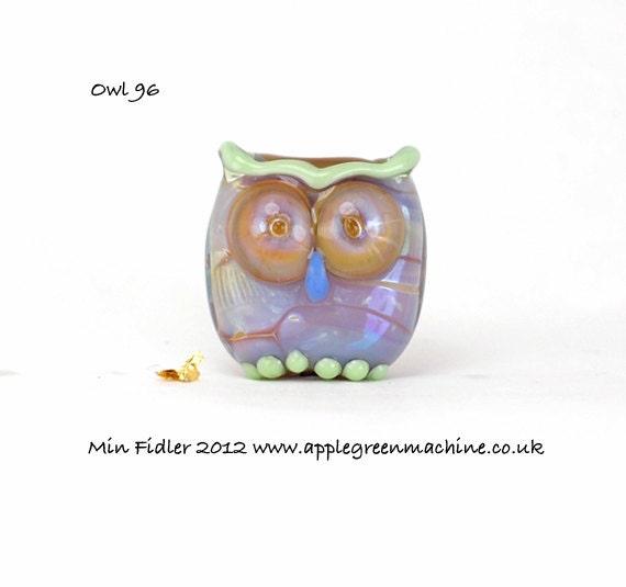 Lampwork glass owl bead 96