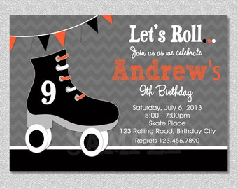 Boys Skating Birthday Invitation Boys Roller Skating Birthday Party Invitation Printable