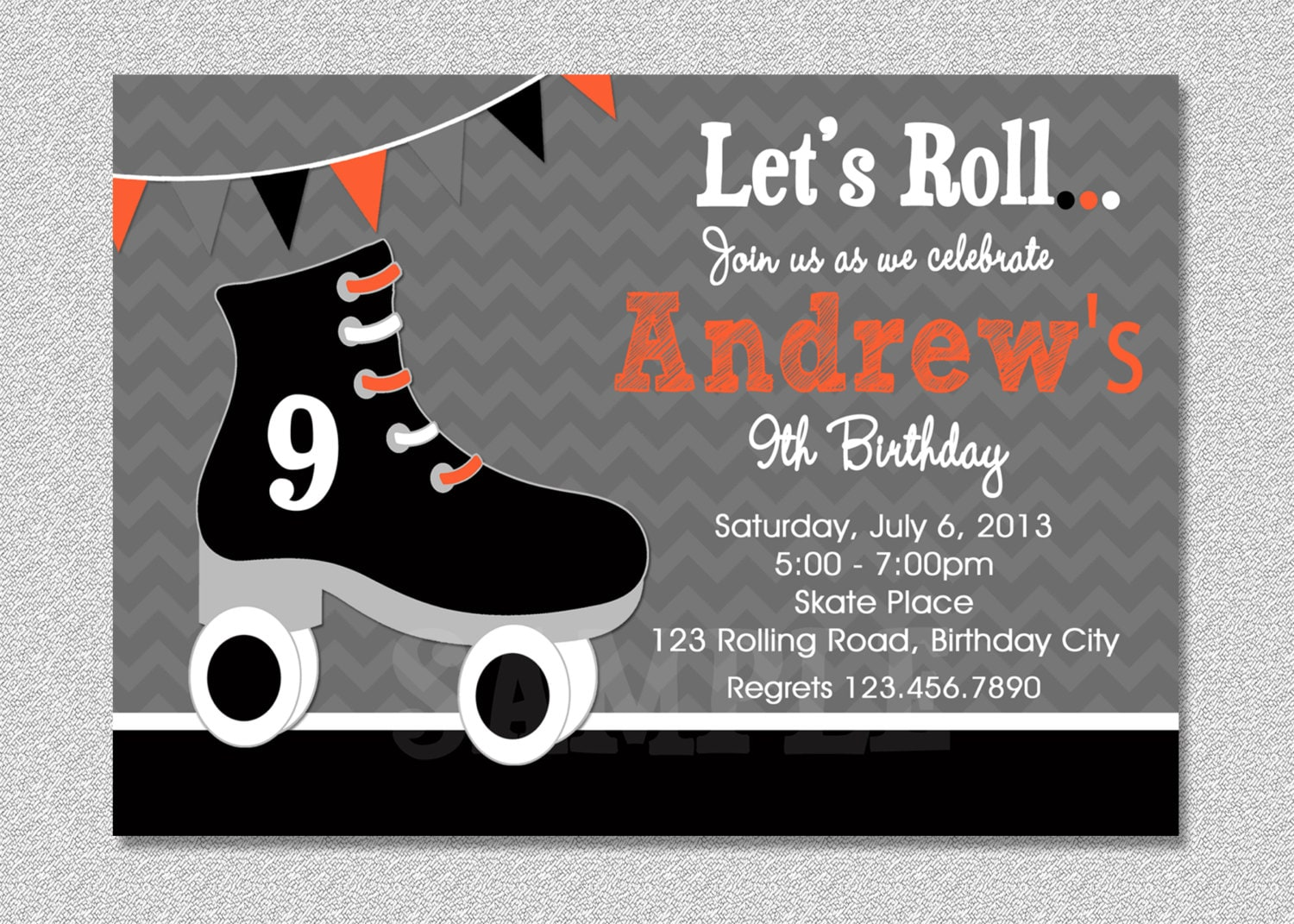Boys Skating Birthday Invitation Boys Roller Skating – Roller Skate Birthday Invitations
