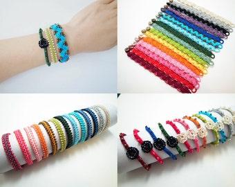 Crochet Lace Jewelry (Bohemian I) Fiber Jewelry, Crochet Bracelet