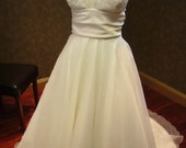 Lace and Organza Wedding Dress with Plunging Neckline