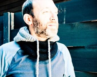 Portland Hoodie Cowl Scarf with Drawstring - Black/ Grey - Unisex, Adults, Kids