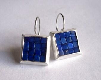 Mosaic Earrings - Lapis Lazuli Silver Earrings - Square Earrings - Blue Gemstone Earrings - Mosaic Jewelry - Blue Earrings - Art Earrings