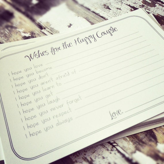 Set of 30 Wishes for the Happy Couple Cards - Professionally Printed Unique Bridal Shower Activity Game or Wedding Guest Book Alternative