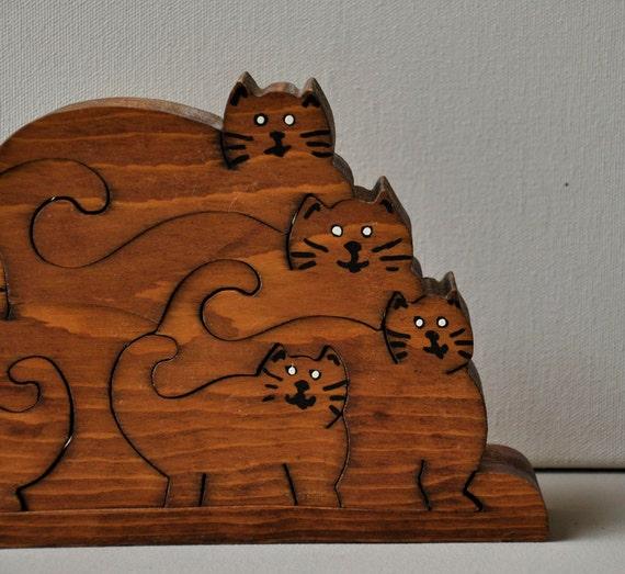 Vintage Carved Wooden Cat Puzzle Figure