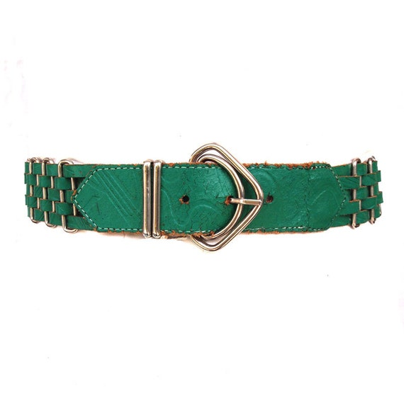 Green with Envy, French Vintage, Emerald Green Leather Waist Belt, from Paris