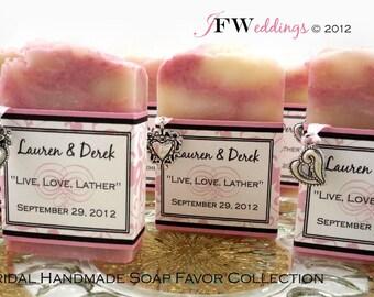 100 Vegan SOAP Favors ~ Bridal ~ Wedding ~ Baby ~  Pink Filligree or Custom Design~ Handmade in 7 days ~ with Cellophane Bags