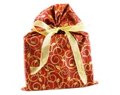 ON SALE -- Red and Gold Reusable Christmas Fabric Gift Bag