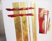 OOAK Modern painting / Greeting card, wedding, red and gold - Romance