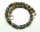 RESERVED - Blue Flash Labradorite & Sterling Silver Necklace - N73