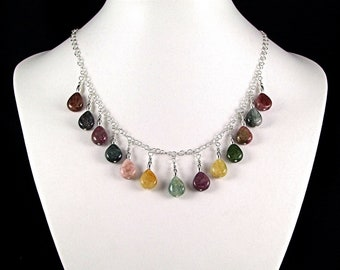 Stunning Tourmaline Teardrop Sterling Silver Necklace - N477